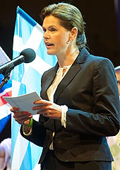 Slovenian Prime Minister Alenka Bratusek speaking at the opening ceremony of EuroBasket 2013