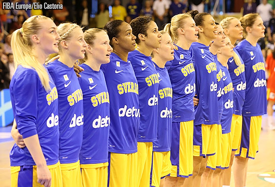 Sweden line up before their last First Round game against Spain