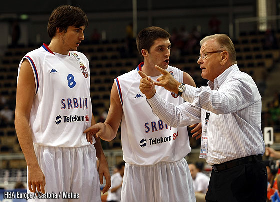 Head Coach Dusan Ivkovic and Nemanja Bjelica (Serbia)