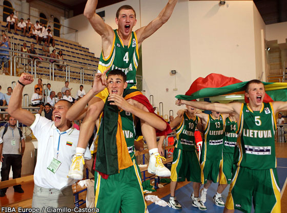 Lithuania celebrate their gold medal win