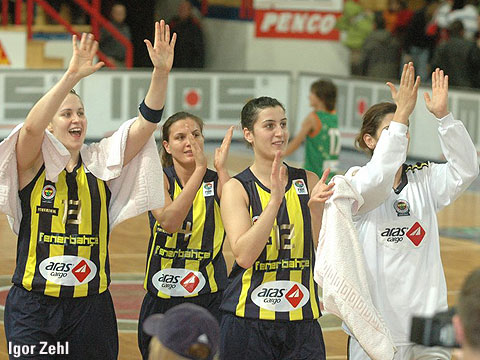 Fenerbahce SK celebrate victory over Gambrinus Sika Brno