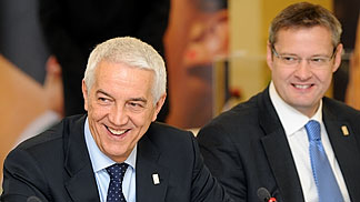 FIBA Europe President Olafur Rafnsson and FIBA Europe Secretary General Nar Zanolin