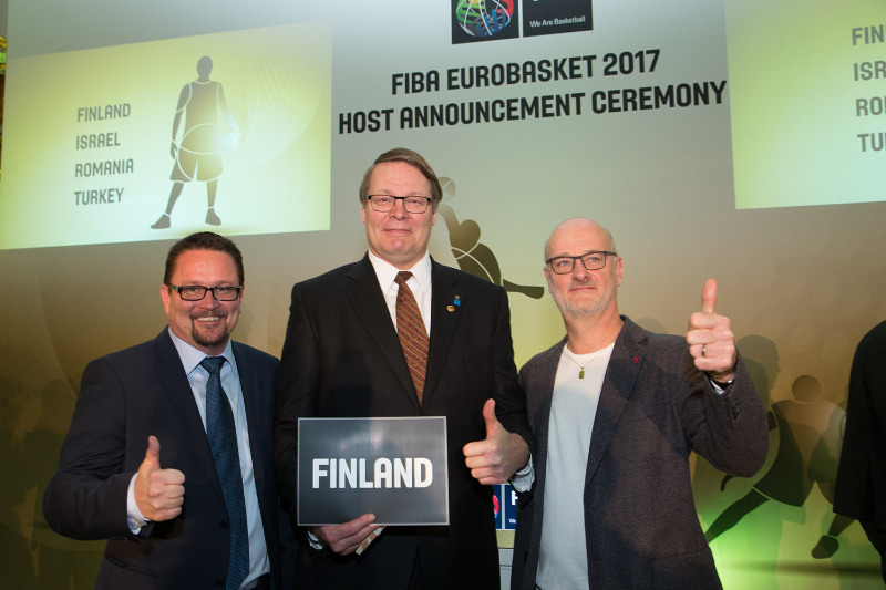The Finnish delegation following the announcement of the FIBA EuroBasket 2017 hosts