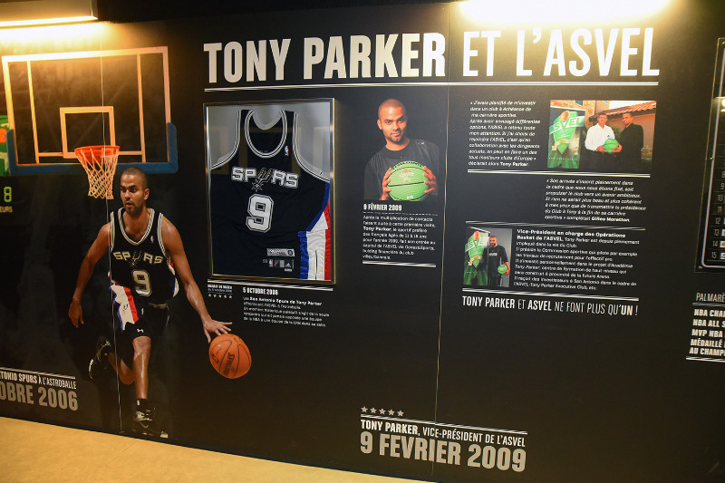 Tony Parker's history with ASVEL, displayed in the Astroballe