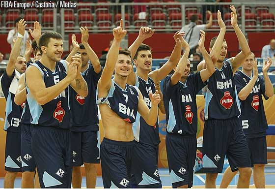 Bosnia and Herzegovina celebrate their first win at EuroBasket 2013