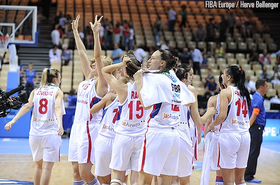 Serbia celebrating after booking their second round spot