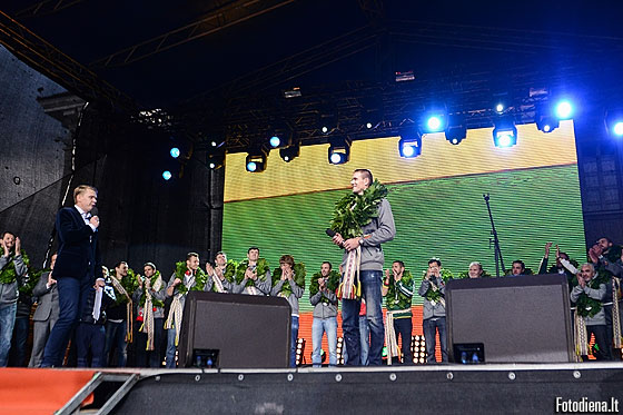 Lithuania captain Robertas Javtokas on stage at a home welcoming in Vilnius on Monday 22 September