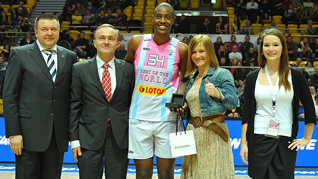 34. Sylvia Fowles is presented with the MVP trophy