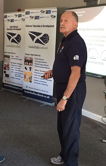Alan Richardson (FIBA Europe Referee Department) lecturing in Stirling (SCO)
