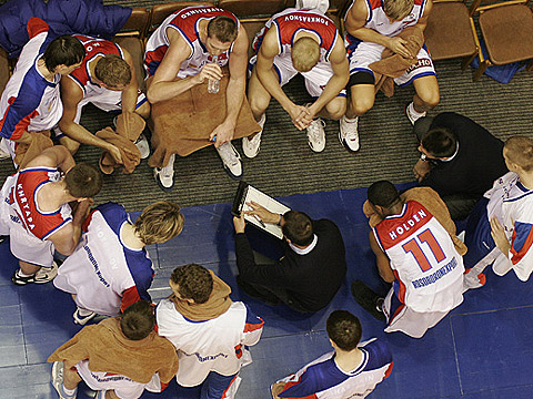 Russia head coach David Blatt conducts a timeout in his side's EuroBasket qualifier against Czech Republic