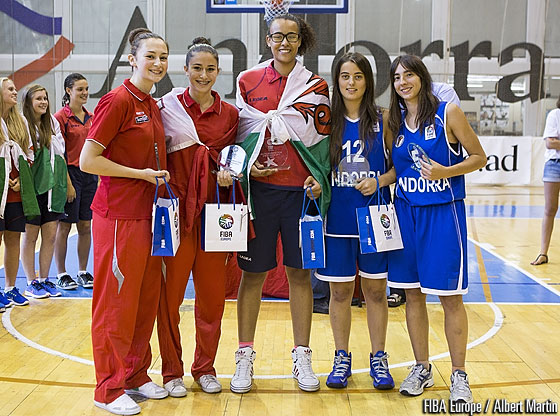 All Tournament Team: Christina Andres & Claudia Brunet (Andorra), Francesca Mifsud & Maria Bonett (Malta) & Tanisha Walker (Wales)