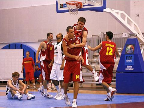 Montenegro celebrate victory over Germany