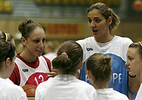 Diana Taurasi and Ivana Matovic coaching at a junior camp at the EuroLeague Women All Star Game