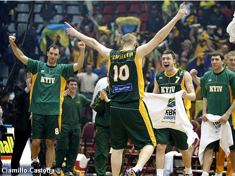 BC Kyiv players celebrating their 88-72 win over Fenerbahce