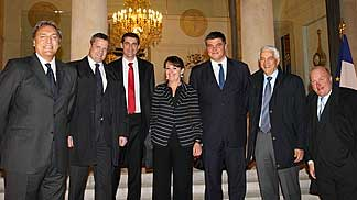 From left to right: Dino Meneghin; Olafur Rafnsson; Jean-Pierre Siutat; Advisor for Sport to the President of the French Republic, Sophie Dion; France's Minister for Sport, David DouilletNar Zanolin; Ingo Weiss