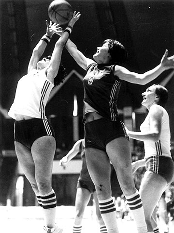 Game action from the 1978 European Championship for Women in Poland