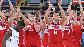 Russia players applaud fans after win over Nigeria - Olympic Qualifying Tournament 2012