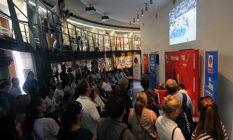 Screening of the 1989 EuroBasket Final in the Drazen Petrovic Museum during the Trophy Tour stop in Zagreb