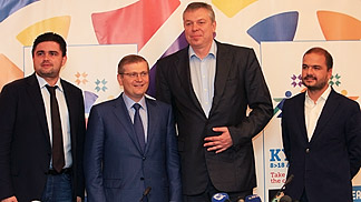 EuroBasket 2015 Tournament Director Markiyan Lubkivskyi (left), Ukrainian Vice Preime Minister Oleksandr Vilkul, President of the Ukrainian Basketball Federation Alexander Volkov and logo co-designer Miguel Viana