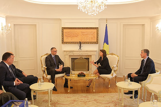 FIBA Regional Director Europe Kamil Novak talks with President Atifete Jahjaga of Kosovo