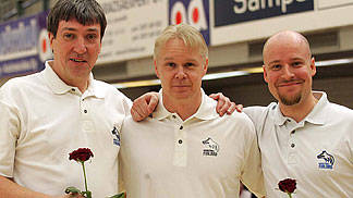 The coaching staff of team Finland (from left to right): assistant Ensio Helimäki, head coach Tommi Koskinen and assistant Jussi Laakso