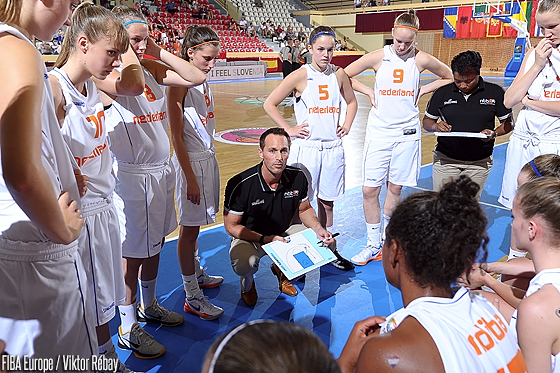 Netherlands head coach Bart Sengers during a timeout