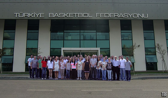 The staff of the Turkish Basketball Federation in front of the TBF headquarters