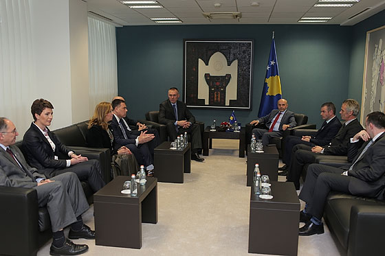 FIBA Regional Director Europe Kamil Novak talks with Kosovo Prime Minister, Isa Mustafa