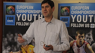 Youth Commission President Aris Zois, during the FIBA Europe Youth tournament organisers workshop in Munich