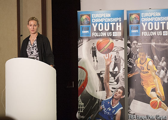 FIBA Europe Youth Ambassador Natasa Kovacevic speaks at the 2014 FIBA Europe Youth Forum