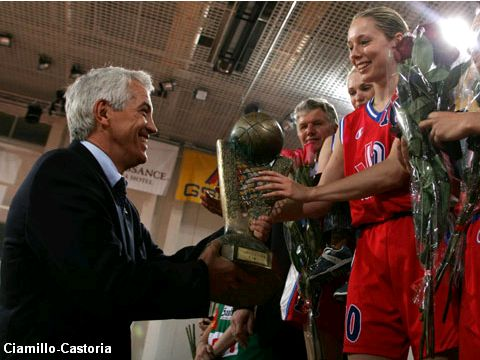 FIBA Europe Executive Director Nar Zanolin presents the EuroLeague Women trophy to Ilona Korstine, captain of VBM-SGAU Samara