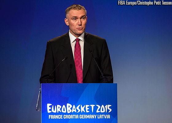 FIBA Europe Secretary General Kamil Novak speaking at the EuroBasket 2015 Draw