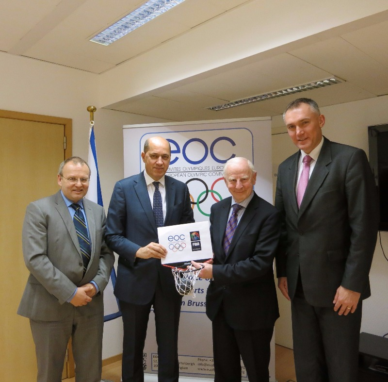 EOC EU Office Director Folker Hellmund; FIBA Europe President Turgary Demirel; EOC President Patrick Hickey; and  FIBA Executive Director Europe, Kamil Novak
