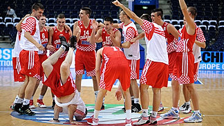 Croatia celebrating their final berth