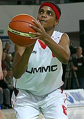 Tamecka Dixon (UMMC) shooting a free-throw. She had 10 points and 8 rebounds in the game against USK Blex