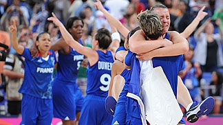 France celebrate their Semi-Final victory over Russia at the London Olympics