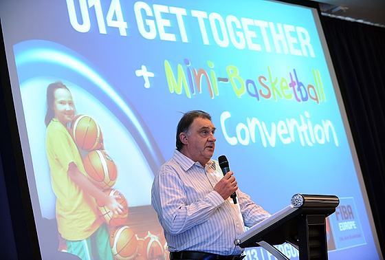 FIBA Europe Acting President Cyriel Coomans speaking at the U14 Get TOgether and Mini Basketball Convention