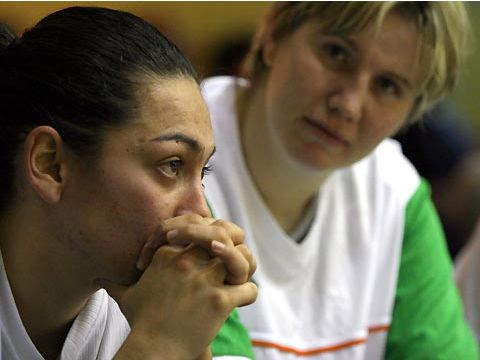 Brno's Alicia Poto looking dissapointed after her side's loss to Gdynia in the EuroLeague Women play-offs