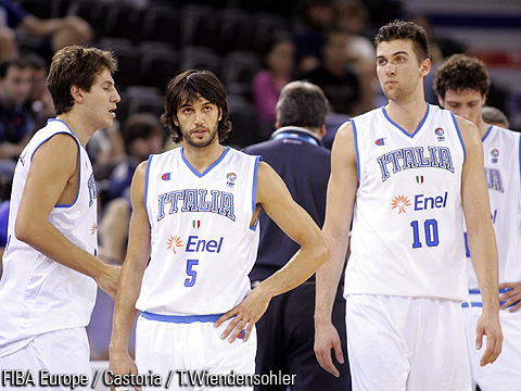 Gianluca Basile (Italy) and Andrea Bargnani (Italy)