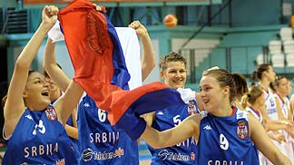 Serbia celebrates their win over Slovakia.
