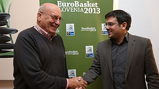 Aleš Križnar, Director of EuroBasket 2013, welcomes Slovenian basketball legend Ivo Daneu as ambassador of EuroBasket 2013