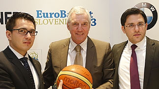 Lothar Schupert (CEO BMW Group Slovenija); Iztok Rems (Slovenian Basketball Federation Secretary General); Ales Kriznar (Director of EuroBasket 2013); and Raso Nesterovic (Ambassador of EuroBasket 2013) at Tuesdays announcement