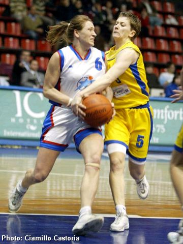 Irina Routkovskaia (Baltiyskaya Zwezda) guarded by Angela Delmis