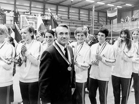 The medal ceremony of the 1976 European Championship for Women in France