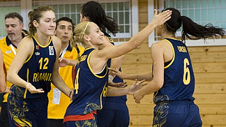Romania celebrate their first win at the 2012 U20 European Championship Women Division B