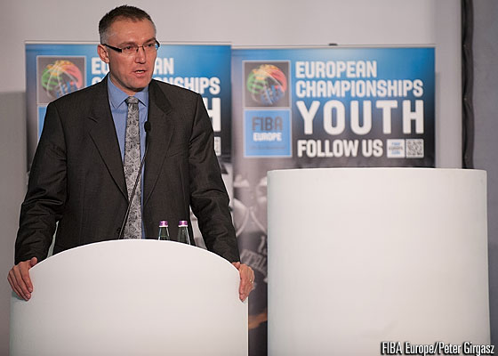 FIBA Europe Secretary General Kamil Novak speaks at the 2015 FIBA Europe Youth Championships Draws