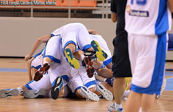 Greece celebrate after their win over Serbia
