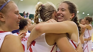 The Czech players celebrating after their semi-final victory