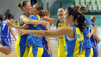 Ukraine celebrate their win over Slovak Republic