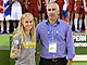 The President of Oporto Basketball Association Vitor Carneiro presents Lithuanian player Agne Cerneckyte with the Fair Play award